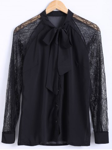 Hot Bow Collar Lace Sleeve Chiffon Blouse