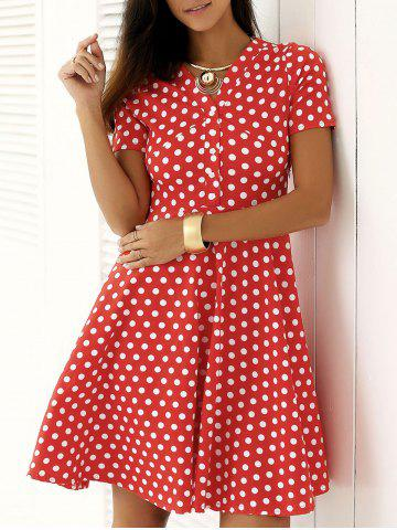 Outfit Vintage Single Breasted Polka Dot Print Dress