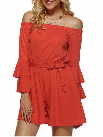 Shop Off-The-Shoulder Flounced Flare Sleeves Romper