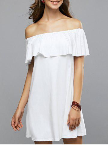 Cheap Off-The-Shoulder Flounced Summer Dress