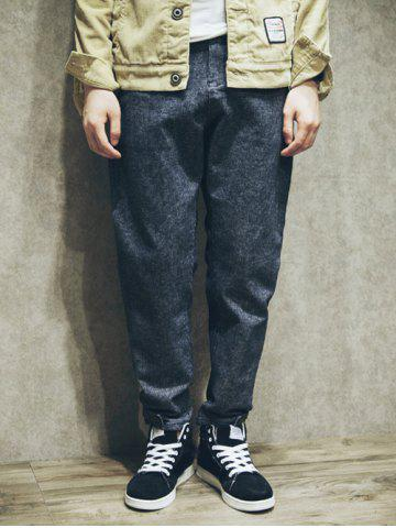 Loose-Fitting Snap Button Cuff Texture Pants