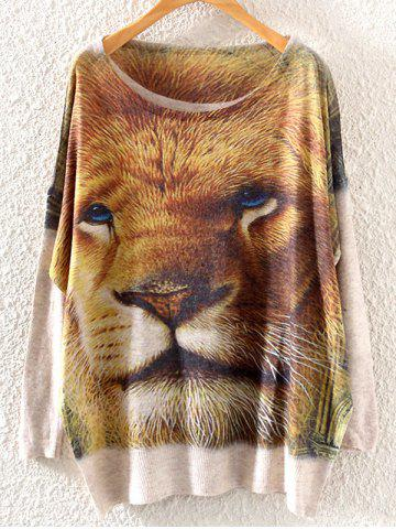 Outfits Lion Head Print Loose Knitwear