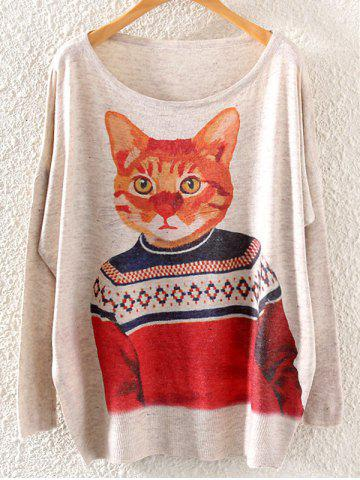 Hot Cat Print Loose Knitwear