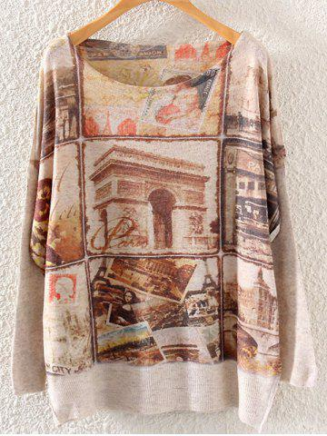 Fashion Character Building Print Loose Knitwear LIGHT KHAKI ONE SIZE