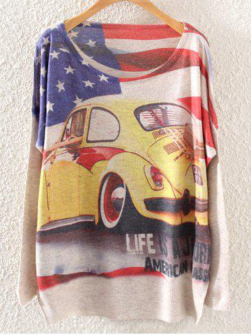 American Flag Car Print Loose Knitwear - LIGHT KHAKI ONE SIZE