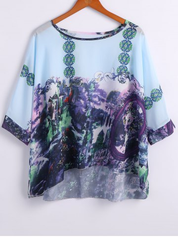 Discount Round Neck Printed Batwing Sleeve Tee