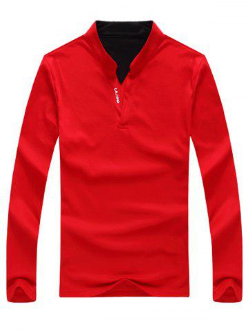 Stand Collar Long Sleeve Letter Print Polo T-Shirt - Red - M