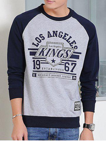 Unique Round Neck Letters Print Raglan Sleeve Sweatshirt SAPPHIRE BLUE 3XL