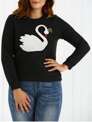 Outfit Plus Size Swan Pattern Warm Sweatshirt