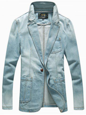 Affordable Patch Pockets Front Lapel Long Sleeve One-Button Denim Jacket LIGHT BLUE 2XL