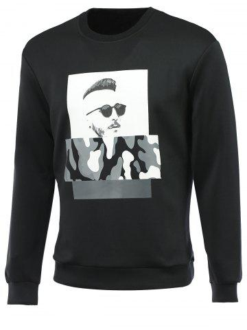 Best Figure and Camouflage Print Round Neck Long Sleeve Sweatshirt For Men BLACK 2XL