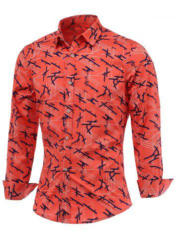 Discount Chic Lines Print Turn-Down Collar Long Sleeve Shirt For Men
