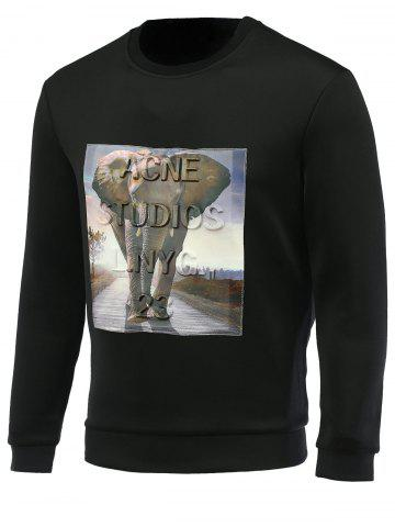 Best Elephant and Letter Print Round Neck Long Sleeve Sweatshirt For Men