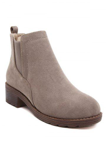 Shop Elastic Band Round Toe Flock Ankle Boots