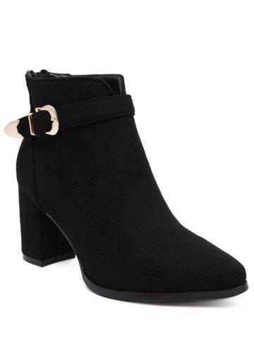 Outfit Zipper Buckle Flock Ankle Boots BLACK 39