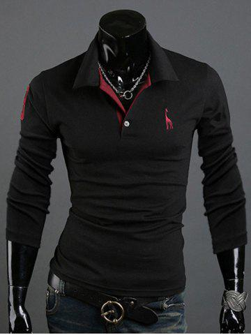 Fashion Animal Print Long Sleeve Slim-Fit Polo T-Shirt