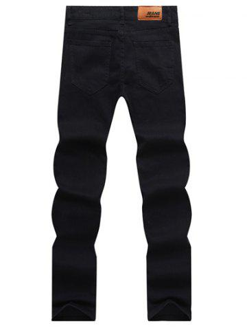 Chic Solid Color Zipper Fly Straight Leg Jeans For Men - 32 BLACK Mobile