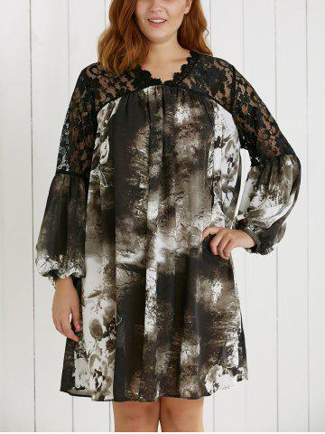 Chic Plus Size Lace Spliced Ink Painting Dress COLORMIX 5XL