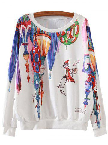 Discount Magical Castle Cartoon Print Loose Sweatshirt WHITE XL