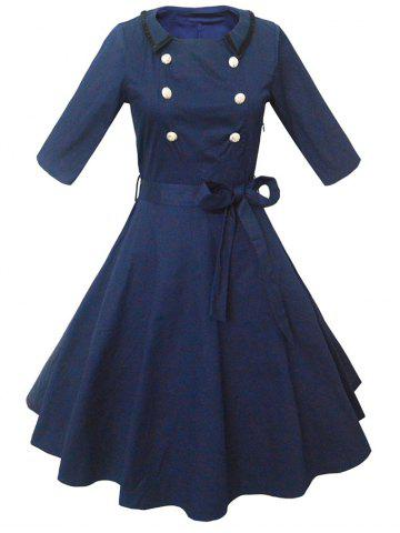 Fashion Retro Buttoned High-Waisted Belted Flare Dress PURPLISH BLUE 2XL