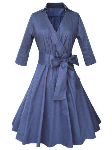 Best Shirt Coat Wrap Dress With Belt PURPLISH BLUE 2XL