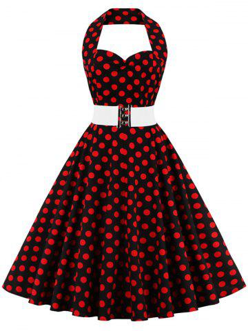 Hot Halter Flare Polka Dot Dress RED WITH BLACK 4XL