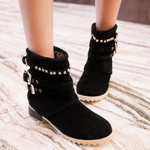 Online Metal Buckle Slip On Suede Ankle Boots - BLACK 37 Mobile