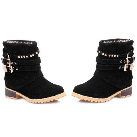 Discount Metal Buckle Slip On Suede Ankle Boots - BLACK 37 Mobile