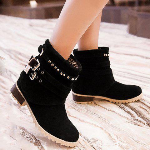 Metal Buckle Slip On Suede Ankle Boots - Black - 38