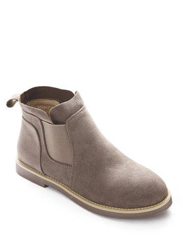 Discount Elastic Band Suede Flat Ankle Boots