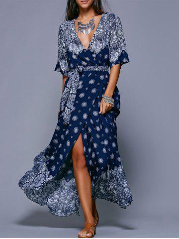 Bohemian Slit Print Long Flowing Wrap Dress - Purplish Blue