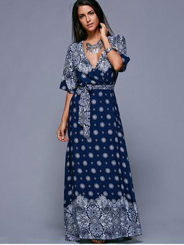 Slit Print Long Flowing Wrap Plunge Dress - One Size(fit Size Xs To M)