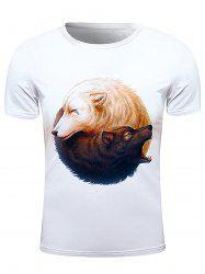 Round Neck 3D Wolfs Print Short Sleeve Stylish T-Shirt For Men