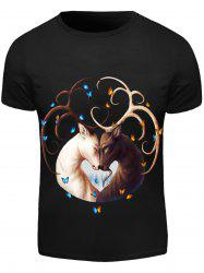 Black Round Neck Animal Pattern Slimming Short Sleeves 3D T-Shirt For Men