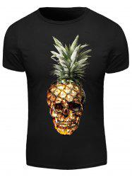3D Pineapple Skull Print Round Neck Short Sleeve T-Shirt For Men