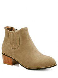 Concise Chunky Heel and Elastic Band Design Ankle Boots For Women