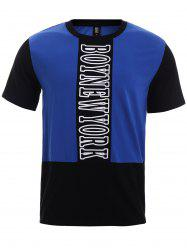 BoyNewYork Color Block Short Sleeves T-Shirt - BLUE AND BLACK XL