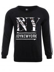 BoyNewYork Stripes Pattern Sweatshirt - BLACK XL