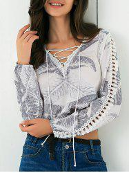 Hollow Out Lace Up Leaf Print Blouse