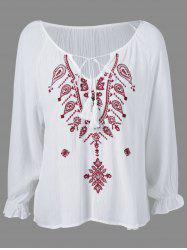 Ethnic Style Embroidered Tassel Tie Blouse -