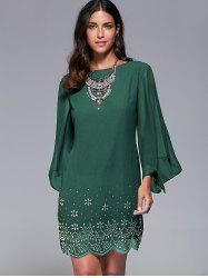 Bell Sleeve Scalloped Long Sleeve Shift Dress
