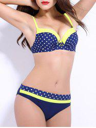 Spaghetti Strap Color Block Polka Dot Push Up Bikini