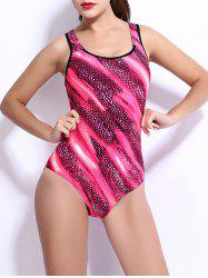 U Neck Abstract Light Stripe Cutout Swimwear