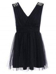Plunging Neck Mesh Beaded Ruched Dress -