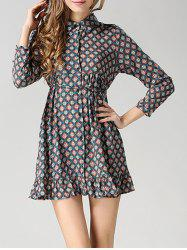 Long Sleeves Flounce Tied Dress -