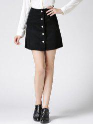 High Waist Buttoned Corduroy Skirt - BLACK