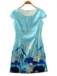 Retro Cape Sleeve Lotus Flower Cheongsam Dress