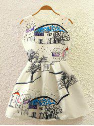 Retro Graffiti Country Print Sleeveless Fit and Flare Dress -