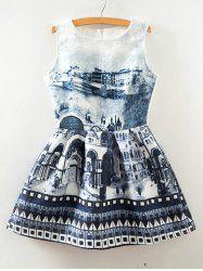 Retro Jacquard Digital City Print Sleeveless Fit and Flare Dress