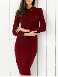 Bow Tie Concealed Zipper Bodycon Dress - WINE RED
